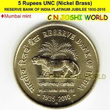 RESERVE BANK OF INDIA PLATINUM JUBILEE 1935-2010 Nic-Brass 5 Rupees UNC # 1 Coin