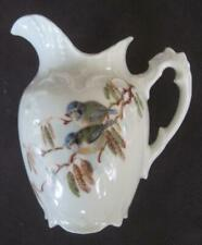 """4"""" Porcelain Pitcher with Birds and Violets and Gold Trim"""