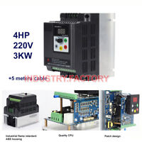 4HP 3KW VFD Inverter Variable Frequency Drive 220V 12A + 5m Cable For CNC motor
