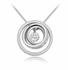 18K Gold GP SWAROVSKI Element Crystal Round Point Pendant Necklace Silver