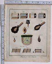 1779 Antico britannico sportivo stampa ~ Bird RETI & trappole Lepre ~ Coniglio & VARI