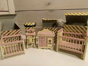 Lot of 4 Concord Miniature Dollhouse Nursery Furniture NEW Open Box Pink NOS