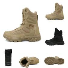 Mens Comfort Army Tactical Leather Military Ankle Boots Desert Combat Shoes New