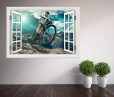 Cool extreme sports mountain biking bike track window wall sticker (50688316ww)