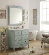 """34"""" Cottage look Daleville Bathroom Sink vanity HF081-LB-MIR Vintage Light Blue"""