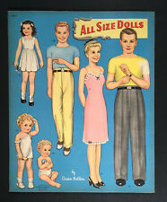 """""""All Size Dolls By Queen Holden"""" 1945 Whitman Uncut Paper Dolls Vintage"""