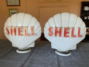 MATCHING PAIR of Genuine Shell Petrol Globes