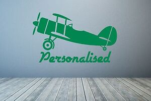 Aeroplane, Airplane & Personalised text. Wall decal sticker art. Any colour.