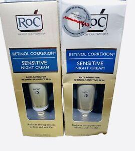 2-RoC Retinol Correxion Sensitive Night Cream Anti-Aging 1 oz Box A Little Warn