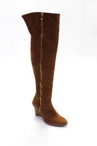 Stuart Weitzman Womens Cognac Tan Suede Over The Knee Wedge Boots zip side 8