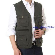 Hot Men Cotton Vest Pocket Fishing Waistcoat Gilet Father's Gift Plus Size L-4XL