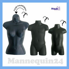 Female Child Toddler Mannequin Set -Black Hanging Torso Dress Forms & 3 Hangers