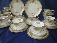 Gilded Flowers and Swags Noritake Porcelain 36pc Tea Set, Komaru c1908+