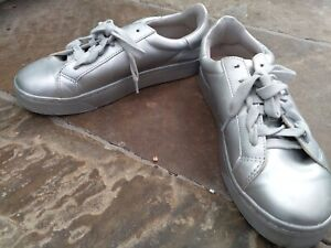 NEW LOOK silver trainers casual shoes flat sneakers 7 40 good condition