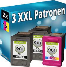 Set 3x REFILL PATRONEN für HP 901 XL OFFICEJET J4500 J4524 J4535 J4540 J4550