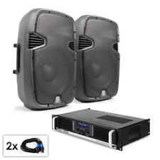 Juego Sonido PA Amplificador potencia 1200W Canales 2 Par Altavoces DJ 200W RMS