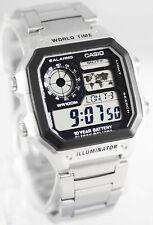 Reloj Nuevo Casio AE-1200WHD-1AV Mapa Hombre 10 Años Batería 5 Alarmas Acero