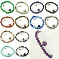 "Handmade Natural Gemstone Elastic Stretch Bracelet w Healing Rock 7.5"" Reik"