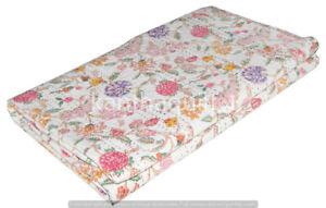 Vintage Floral Queen Kantha Quilt Blanket Indian Bedspread Coverlet Throw Art