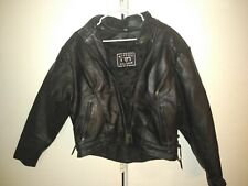 Barney's Motorcycle Biker Leather Jacket Authentic Real Black Coat pit to pit 20