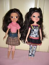 2 Moxie Girlz dolls - Sophina & Lexa (brunettes, no feet or shoes)