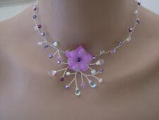 Collier Violet/Parme/Mauve/Cristal/Rose robe Mariée/Mariage/Soiré Fleur Original