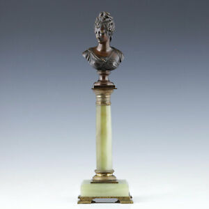 kleine Bronze Büste Diane de Poitiers nach Jean Goujon 19. Jh. Onyx Renaissance