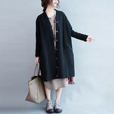 Black Cardigan Long Sleeve Loose Cotton Knee Length Trench Coat Autumn Winter