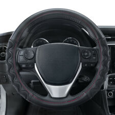 Carbon Fiber Sports Grip Leather Steering Wheel Cover by Motor Trend Black