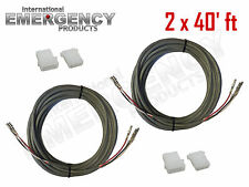 2x 40' ft Strobe Cable 3 Conductor Wire AMP Power Supply w/ Connector for Whelen