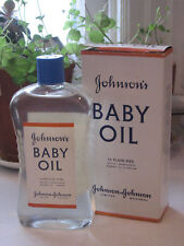 Vintage 1940s Johnsons Baby Oil 12 Oz Glass Bottle New In Box