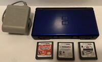 Nintendo DS Lite Cobalt/Black Console/Games  Bundle Tested & Complete