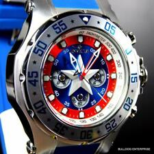 Invicta Marvel Captain America 52mm Limited Edition Chronograph Blue Watch New