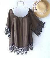 New~Olive Green Crochet Lace Peasant Blouse Shirt Spring Boho Plus Size Top~ 3X