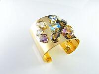 MASSIVE 1950s solid 18K Gold Large Gem Cuff Bangle Bracelet Modernist Statement