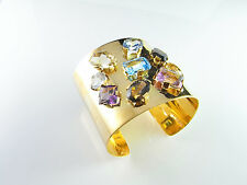 MASSIVE 1950s solid 18K Gold Large Gem Cuff Bangle Bracelet Modernist Statement