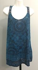 Cato Dark Teal Blue Sleeveless Casual Top Sz L Large