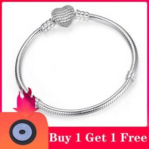 High Quality Silver Jewelry Chain Bracelet Heart Clasp Charm Snake Fashion gift