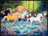 Horse in Midstream - Chart Counted Cross Stitch Pattern Needlework Xstitch craft