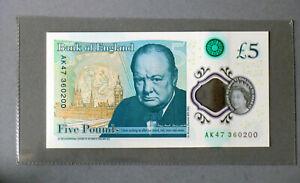 £5 Churchill, AK47 360200, Five Pound note, fiver, uncirculated