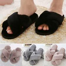 Womens Ladies Fur Fluffy Slippers Cross Over Open-Toe Sliders Mules Summer Shoes