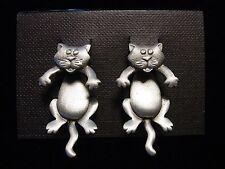 """""""JJ"""" Jonette Jewelry Silver Pewter Large 'CAT 3-D' Pierced Earrings"""