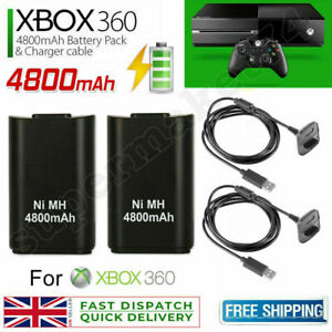2x For Xbox 360 Wireless Controller Battery Pack Rechargeable+Charger Dock Cable