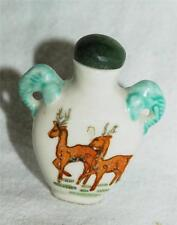 Antique Snuff Bottle Deer with Elephant Head Handles Signed