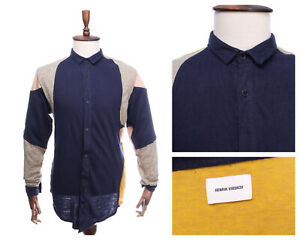 HENRIK VIBSKOV Multicolored Color Block AW14 LS Shirt Size L