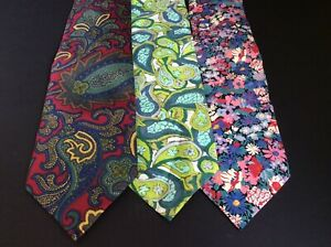 Bundle of 3 LIBERTY Neck Ties Silk and Cotton IL