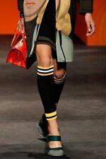 PRADA S/S  2014 RUNWAY Black Yellow White Ribbed Knit Half Chaps Leg Warmers NWT