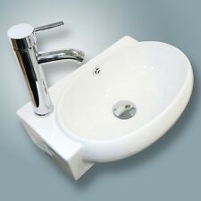 Bathroom White Wall Mount Ceramic Corner Sink W/ Chrome Drain Faucet Combo Set