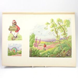 Collis childrens book illustration painting antique Hedgehog landscape #32
