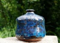 wunderschöne Vase Studio Keramik 70er Keramik blau glasiert Designerstück